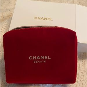 Chanel red velvet makeup bag